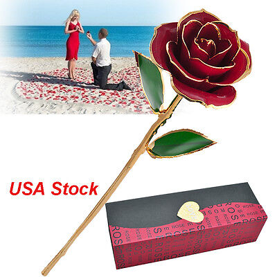 US Real Red Rose Dipped 24 K Gold Foil Trim Flower Floral Forever Love Gift +Box