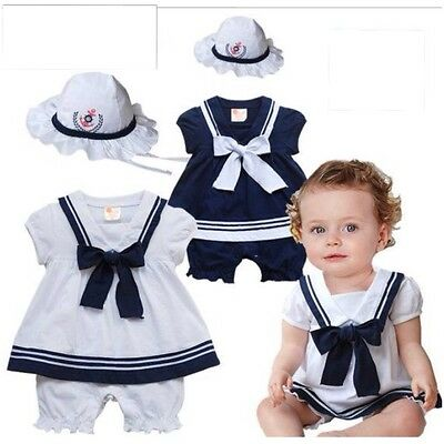 Baby Girls Grow Sailor Romper Dress Play Suit Fancy Dress Hat Navy Blue White