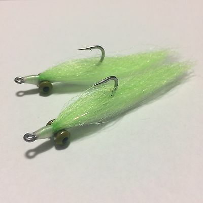 BWC flies Chartreuse / White Clouser Minnows for Saltwater flyfishing