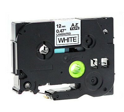 """Brother Compatible TZ231 P-Touch 1/2"""" 12mm Gloss Black on White Tape TZ-231"""