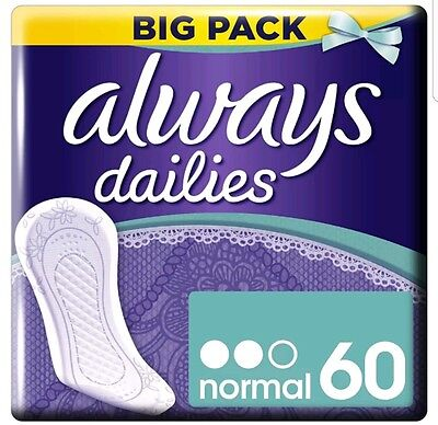 Always Dailies 60 Pads Panty Liners Normal Pantyliners