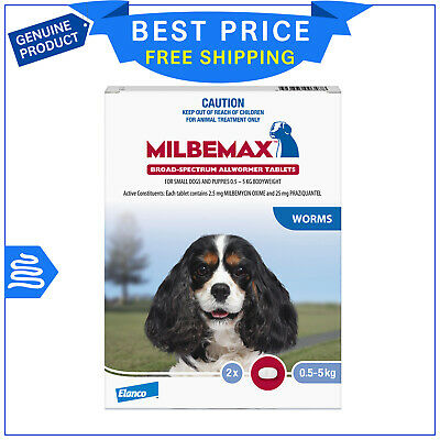 Milbemax Allwormer for Small Dogs 0.5 to 5 Kg 2 Tablets Dog worm treatment
