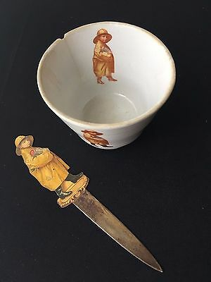 Vintage Lot of 2 Uneeda Biscuit - Letter Opener & Bowl - Soup Cup