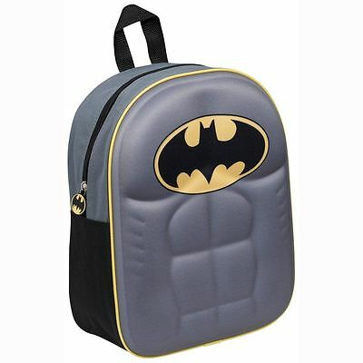 Batman Torso 3D Junior Kids Boys School Backpack Rucksack Grey Travel Bag