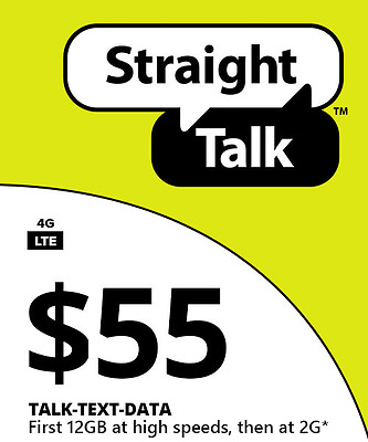 Straight Talk $55 Unlimited 30Day 12Gb Service Card
