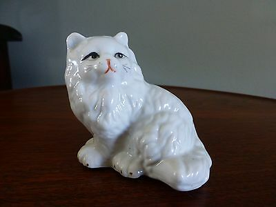 Vintage White Persian Cat Figurine Ceramic Marked On The Bottom