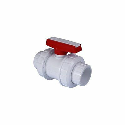 White PVC Double Union Ball Valves. Imperial.(Swimming Pools, Ponds, Industrial)