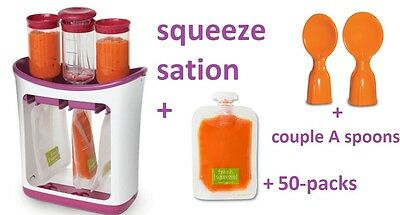 Infantino Squeeze Station & 50 Pack Food Pouches & Couple A Spoons, Baby
