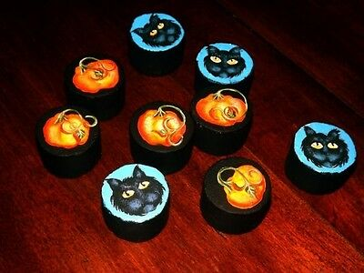 OOAK Hand Painted Halloween Tic Tac Toe Game Black Cat Pumpkins Folk Art
