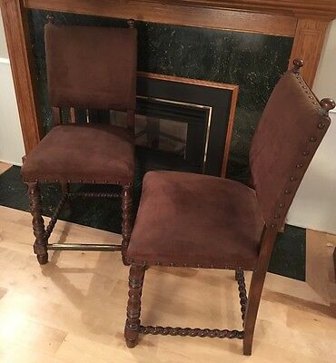 Pair of Bar Stools Barley Twist 1920s? Jacobean/William & Mary Velour Upholstery