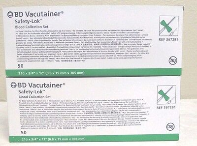 2 Boxes of BD Vacutainer 21g Safety-Lok Blood Collection Set Ref. No. 367281