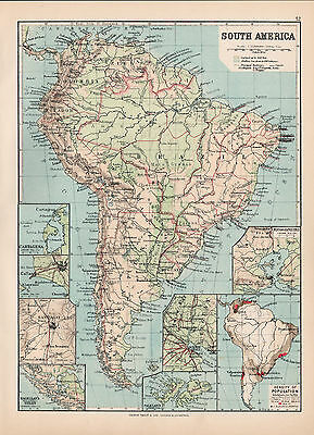 South America Original Large Color Antique Map  1894