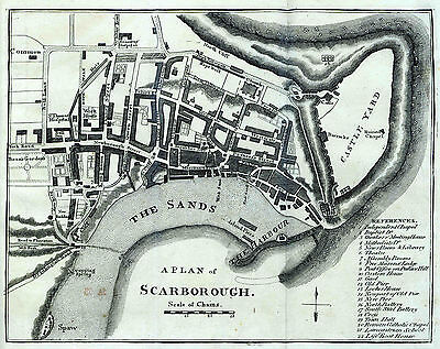 Map of Scarborough England  Reproduction 1691 Print