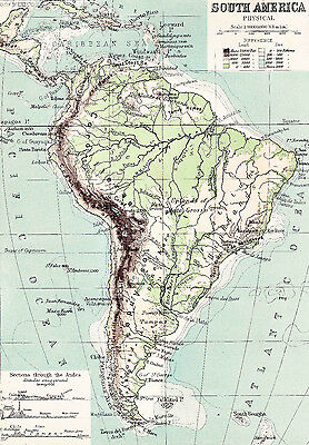Map of South America Physical Reproduction 1894  Print