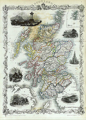 Map of Scotland Reproduction 1873 Print