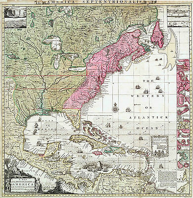 Map of british Empire In America Reproduction 1733 Print