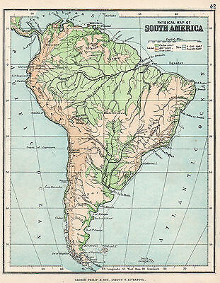 Physical map Of South America 1896  Original Antique