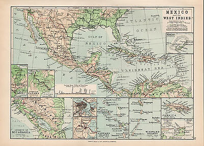 Mexico and the West Indies 1894 Original Large Antique Map