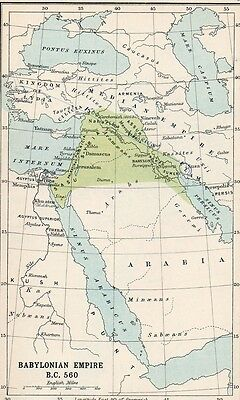 Map of Babylonian Empire  Original Antique  1907