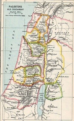 Map of Palestine Old Testament  Original Antique 1907