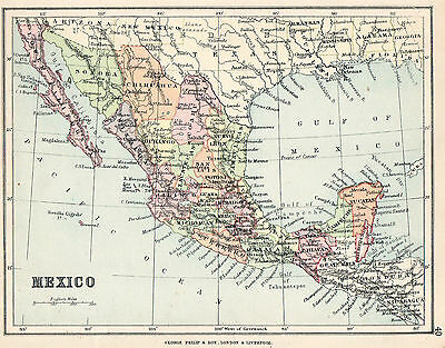 Map Of Mexico 1896  Original Antique