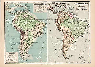 South America 1894 Original Large Antique Color Map