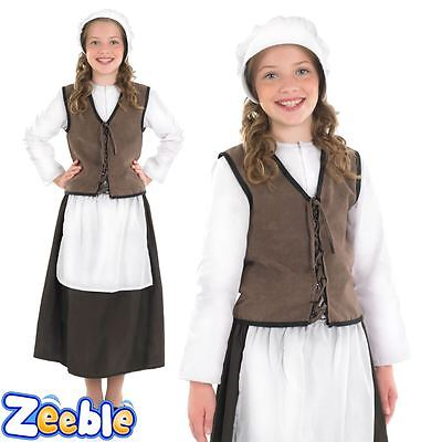 Girls Tudor Costume Victorian Historical Outfit Poor Kitchen Girl Fancy Dress