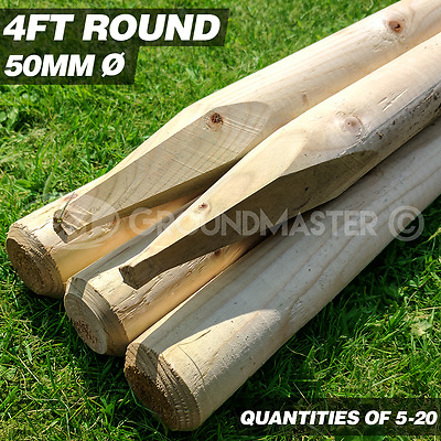 GroundMaster 4ft Rounded Stakes 1200mm Wooden Timber Tree Post Treated Support