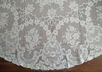 "Glorious! ANTIQUE FRENCH ALENCON LACE OVAL Tablecloth 86"" x 63"" (ng)"