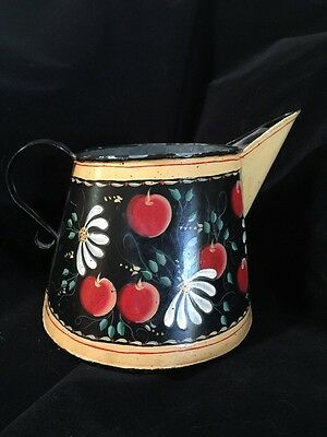 Painted Metal Pitcher Antique Toleware Design Vintage