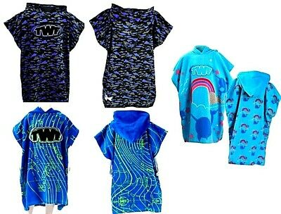 Twf Boys Girls Kids Hooded Poncho Towel Surf Changing Robe Beach Swim Towel