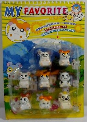 Hamtaro Vtg 1.5'' Lot Of 8 Ham-Ham Hamster Figures Different Poses Mosc Sealed