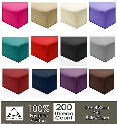 100% Egyptian Cotton Fitted Sheet Flat Sheets 200TC Single Double King SuperKing