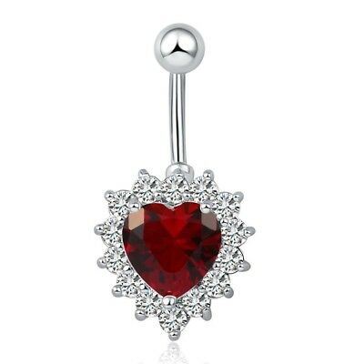 Belly Bars Heart Button Drop Dangle Navel Crystal Silver Bar Body Surgical Steel