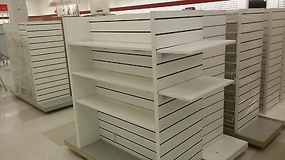 Rolling Slatwall Displays White Shelving Baskets Used Store Fixtures LIQUIDATION