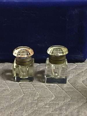 2 Antique Heavy Glass & Brass Ink Bottles From 1800's