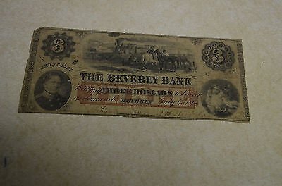 1861 $3 The Beverly Bank Of Beverly, New Jersey Obsolete Banknote Civil War Era