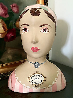 HTF - Enesco Paper Mache Head Form Mannequin Woman's Hat Display Jossette 2000