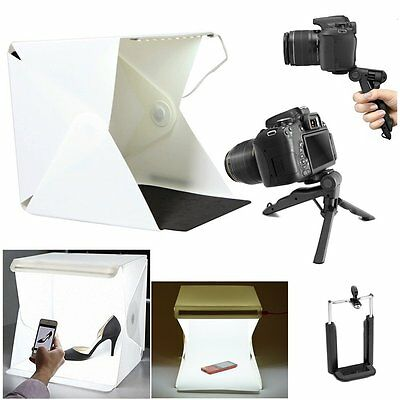Photo Studio Mini Portable Desktop LED Light Tent Box + Tripod + Phone Clip Kit