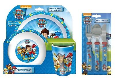 Paw Patrol Chase 6pc Tumbler, Bowl, Plate Set & Straight Cutlery Mealtime
