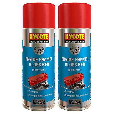 Hycote Gloss Red Engine Enamel 2 Spray Cans Paint 400ml