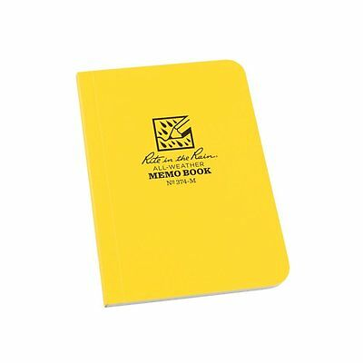 "Rite in the Rain All-Weather Soft Cover Pocket Notebook, 3 1/2"" x 5"", Yellow Cov"