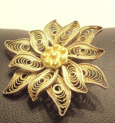 VINTAGE BEAUTIIFUL SILVER FILIGREE BROOCH MADE 19 to 20th CENTURY // 881