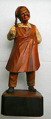 """Vntg carved painted wooden figure man in shop apron like Trygg or Anri 7"""" damage"""