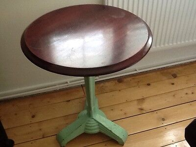 Round, Vintage Bistro/cafe/ Bar table Cast iron Leg - SolId Wooden Top. Circular
