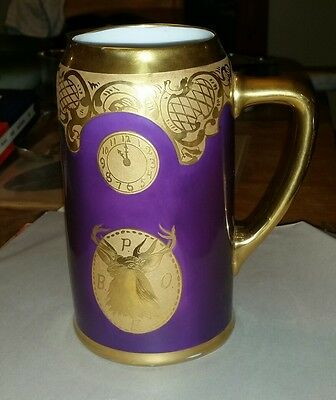 PICKARD China-ELKS  Club, BPOE Stein-Purple, Heavy Gold-Signed COUFFL-Excellent