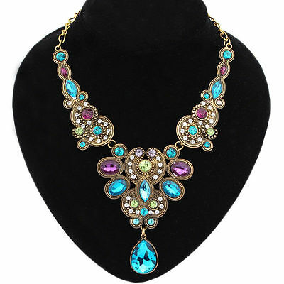 AF Women Water Drops Pendant Choker Chain Bib Statement Necklace Jewelry