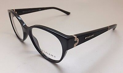 Bvlgari 4106-B-Q 501 Black Gold Leather Women Cat Eye Eyeglasses Italy BE4/21