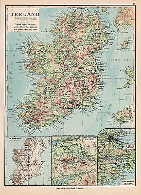 Map Of Ireland Original Large Color Antique Map 1894