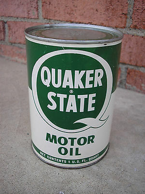 vintage Quaker State metal quart oil can - late 1950's - unopened but empty